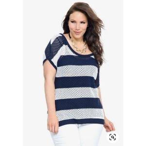 [torrid] Open Knit Striped Sweater